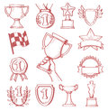 Trophy and awards vector hand drawn icons set Royalty Free Stock Image