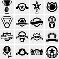 Trophy and awards vector icons set on gray grey background eps file available Stock Photography