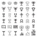 Trophy and awards vector icons set