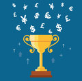Trophy cup with money symbol icon vector, winning money concept