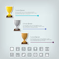 Trophy cups and award concept champions or winners cups icons sport infographic with icons vector illustration Stock Images