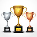 Trophy cups illustration set Stock Images