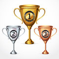 Trophy cups illustration set Royalty Free Stock Image