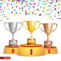 Trophy Cups On Podium. Golden, Bronze, Silver. Winners Pedestal Concept With First, Second And Third Place. Award Royalty Free Stock Photo