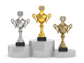 Trophy cups standing d render of on the podium Royalty Free Stock Image