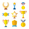 Trophy icons flat set of medallion success award winner medal isolated vector illustration. Collection of shields Royalty Free Stock Photo