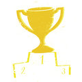 Trophy illustration of a podium with gold on white background Royalty Free Stock Photos