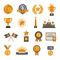 Trophy medal badge crown star honor champion winner success Awards Icons Set amazing vector illustration. Royalty Free Stock Photo