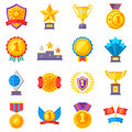Trophy medals and winning ribbon success icons. Win awards vector winner symbols