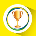 Trophy olympic games brazilian flag colors Royalty Free Stock Photo