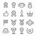 Trophy and prize symbol line icon set