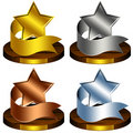 Trophy Stars, Reward, Ribbon Stock Photo