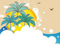 Tropic back with palms Royalty Free Stock Image