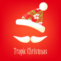 Tropic Christmas card. Mustache and hat of Santa with a summer ornament. Happy New Years background