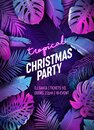 Tropic Christmas Party Neon Flyer, Vibrant Vector Summer Holiday Poster, Disco monstera palm leaves design Royalty Free Stock Photo