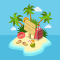 Tropic island beach wooden signpost flat 3d web isometric Royalty Free Stock Photo