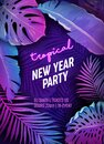 Tropic New Year Party Neon Flyer, Vibrant Vector Christmas Holiday Poster, Disco monstera palm leaves design Royalty Free Stock Photo