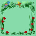 Tropic parrot frame Royalty Free Stock Image