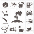 Tropic resort icons for you design Royalty Free Stock Image