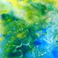 Tropic sea abstract watercolor background green and blue scanned in high resolution Stock Photo