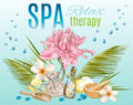 Tropic style spa treatment banner Royalty Free Stock Photo