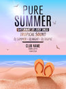 Tropic Summer Beach Party. Tropic Summer vacation and travel. Tropical poster colorful background island. Music summer Royalty Free Stock Photo