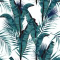 Tropic summer painting seamless vector pattern with palm banana leaf and plants.
