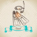 Tropic vintage background with diving mask and fins hand drawn illustration Royalty Free Stock Photos