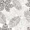 Tropica leaves hand drawn in black and white outline for colorin Royalty Free Stock Photo