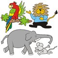Tropical animals parrot lion elephant and mouse color pictures for kids Stock Image