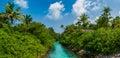 Tropical artificial river panorama view at Maldives Royalty Free Stock Photo