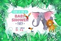 Tropical baby shower. Elephant lion in jungle, african young adorable wild animal and south palm tree leaves cartoon
