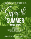 Tropical background with exotic palm leaves. Enjoy the summer party poster or flyer design. Vector illustration Royalty Free Stock Photo
