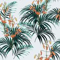 Seamless vector tropical pattern with dark green palm leaves and tropical orange lilies flowers on light background. Royalty Free Stock Photo