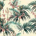 Seamless vector tropical pattern with dark green palm leaves and tropical orange lilies flowers on yellow background. Royalty Free Stock Photo