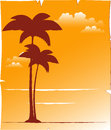 Tropical background with palm and sunset sky Royalty Free Stock Photos