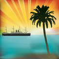Tropical background sunset classic steam liner Royalty Free Stock Photos