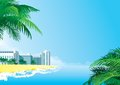 Tropical background vector with palms and hotel buildings Stock Photo