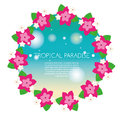 Tropical banner with exotic orchid flowers round wreath. Vector illustration. Design template for summer party invitation, spa sal Royalty Free Stock Photo