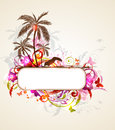 Tropical banner with palms and toucan Royalty Free Stock Photo