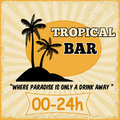 Tropical bar vintage grunge poster vector illustration Royalty Free Stock Images