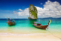 Tropical beach andaman sea thailand long tail boats Royalty Free Stock Image