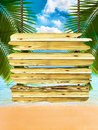 Tropical beach background with exotic wood board sign Royalty Free Stock Photo
