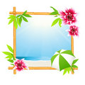 Tropical beach in bamboo frame Royalty Free Stock Photos