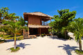Tropical beach bungalow on ocean shore gili meno lombok indonesia Royalty Free Stock Photo