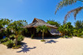 Tropical beach bungalow on ocean shore gili meno lombok indonesia Stock Photos
