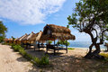 Tropical beach bungalow on ocean shore gili meno lombok indonesia Royalty Free Stock Images