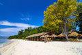 Tropical beach bungalow on ocean shore gili meno lombok indonesia Stock Images