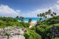 Tropical beach on the Caribbean island Bottom Bay beach, Barbad Royalty Free Stock Photo