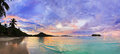 Tropical beach Cote d'Or at sunset, Seychelles Royalty Free Stock Photo